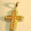 Krementz Gorgeous 14K   GOLD CROSS   CITRINE STONE