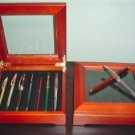 BEAUTIFUL ROSEWOOD & GLASS PEN CASE-NEW