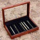 Reed & Barton  CHERRY  Pen Chest  Glass ToP