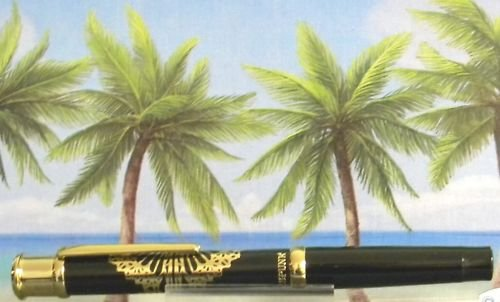 Diamond pen clip lighter black laquer & gold