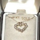 10K COLIBRI HEART SHAPED FRESHWATER PEARL NECKLACE