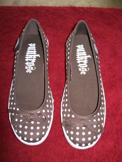 Punkrose Joanie Wedge Brown White Polka Dot Shoes - 7