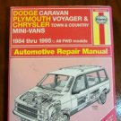 Dodge Caravan Plymouth Voyager Chrysler Town and Country Mini Vans Haynes Manual