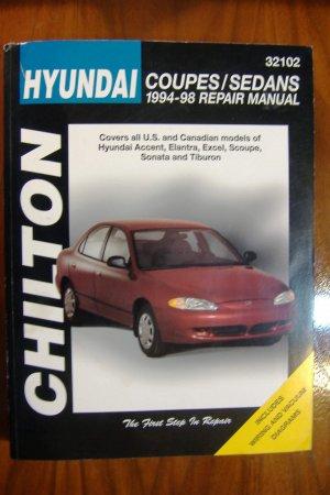 94-98 Hyundai Accent Elantra Excel Scoupe Sonata & Tiburon Chiltons Manual