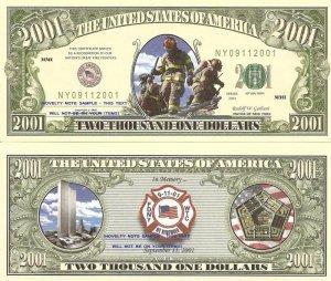 9/11 FIRE FIGHTERS NEW YORK CITY 2001 DOLLAR BILLS x 4