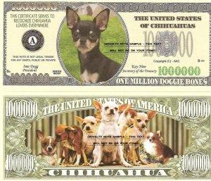 CHIHUAHUA DOG ONE MILLION DOLLAR BILLS x 4 NEW GIFT