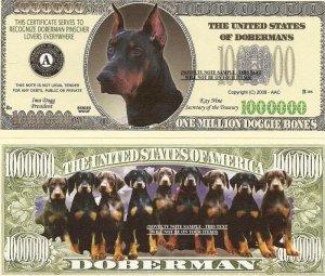 DOBERMAN PINSCHER DOG PUPPY MILLION DOLLAR BILLS x 4