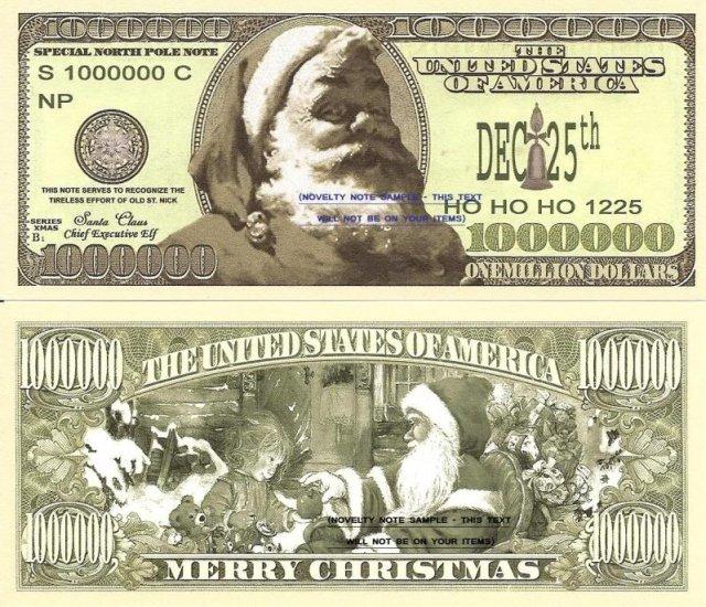 Santa Claus North Pole Merry Christmas Dollar Bills X 4