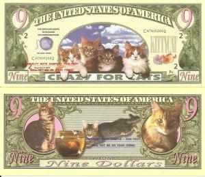 CRAZY FOR CATS 9 DOLLAR CAT KITTEN BILLS x 4 NEW CUTE