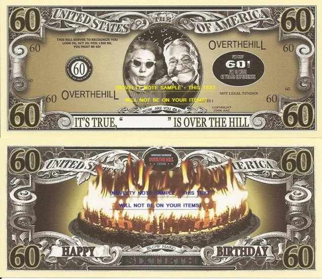 60th Birthday Over The Hill Dollar Bills X 4 Gift New