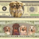 GOLDEN RETRIEVER DOG PUPPY MILLION DOLLAR BILLS x 4 NEW