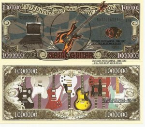 Classic Guitar Right to Rock and Roll Dollar Bills x 4 Musical Instrument
