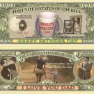 HAPPY FATHERS DAY ONE MILLION DOLLAR BILLS x 4 GIFT DAD