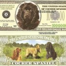 COCKER SPANIEL DOG ONE MILLION DOLLAR BILLS x 4 NEW