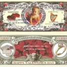 HAPPY VALENTINES DAY TRUE LOVE CUPID 14 DOLLAR BILLS x4