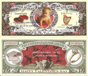 HAPPY VALENTINES DAY TRUE LOVE CUPID 14 DOLLAR BILLS x4