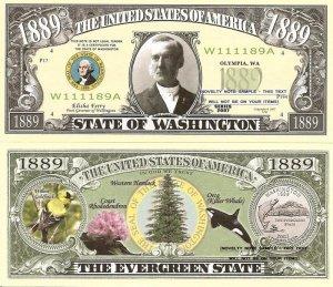 WASHINGTON THE EVERGREEN STATE 1889 DOLLAR BILLS x 4 WA