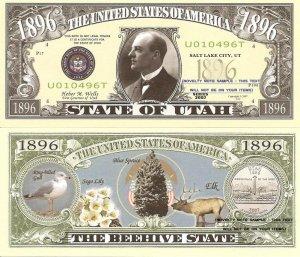 UTAH THE BEEHIVE STATE 1896 DOLLAR BILLS x 4 UT