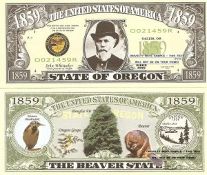 OREGON THE BEAVER STATE 1859 DOLLAR BILLS x 4 OR