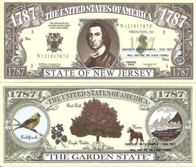 New jersey the garden state 1787 dollar bills x 4 nj - Garden state veterinary services ...