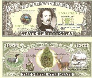 MINNESOTA THE NORTH STAR STATE 1858 DOLLAR BILLS x 4 MN