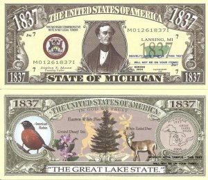 MICHIGAN THE GREAT LAKE STATE 1837 DOLLAR BILLS x 4 MI