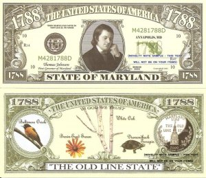 MARYLAND THE OLD LINE STATE 1788 DOLLAR BILLS x 4 MD