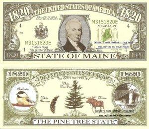 MAINE THE PINE TREE STATE 1820 DOLLAR BILLS x 4 ME