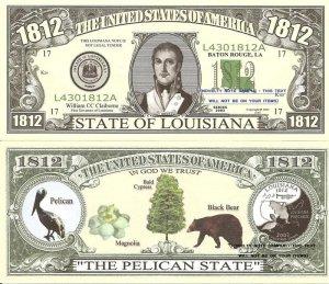 LOUISIANA THE PELICAN STATE 1812 DOLLAR BILLS x 4 LA