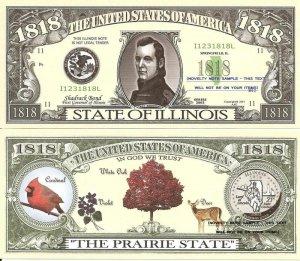 ILLINOIS THE PRAIRIE STATE 1818 DOLLAR BILLS x 4 IL