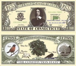 CONNECTICUT CONSTITUTION STATE 1788 DOLLAR BILLS x 4 CT