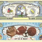 IT'S A BOY - BABY HAS ARRIVED DOLLAR BILLS x 4 GIFT NEW