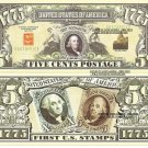 UNITED STATES POSTAL SERVICE 5c FIRST POSTMASTER BILLS x 4