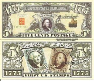 UNITED STATES POSTAL SERVICE 5c FIRST POSTMASTER BILLS x 4