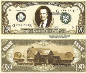 41st PRESIDENT GEORGE H W BUSH MILLION DOLLAR BILLS x 4