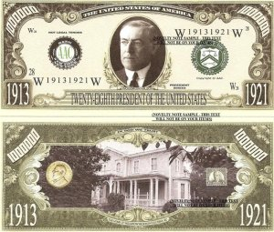 28th PRESIDENT WOODROW WILSON MILLION DOLLAR BILLS x 4