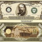 20th PRESIDENT JAMES A GARFIELD MILLION DOLLAR BILLS x 4