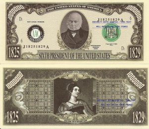 6th PRESIDENT JOHN QUINCY ADAMS MILLION DOLLAR BILLS x4