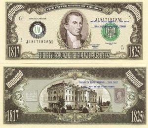 5th PRESIDENT JAMES MONROE ONE MILLION DOLLAR BILLS x 4