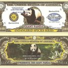 GIANT PANDA ENDANGERED SPECIES MILLION DOLLAR BILLS x 4