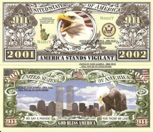 9/11 AMERICA STANDS VIGILANT 2001 2002 DOLLAR BILLS x 4