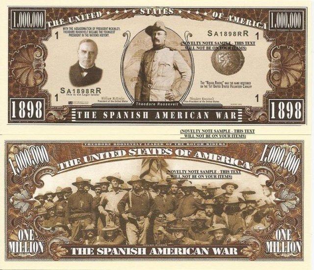 SPANISH AMERICAN WAR 1898 ROOSEVELT DOLLAR BILLS X 4