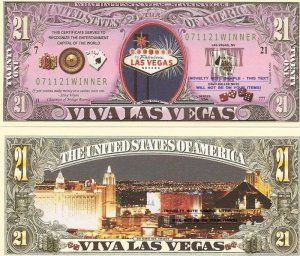 VIVA LAS VEGAS NEVADA SIN CITY 21 DOLLAR BILLS x 4 NEW