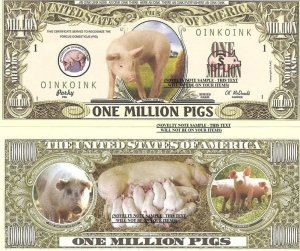 PIGS SOW PIGLETS PORCUS DOMESTICUS DOLLAR BILLS x 4 NEW