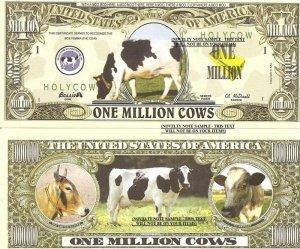 COWS BOS FEMINA BOVINE DOMESTICUS DOLLAR BILLS x 4 NEW