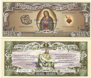 VIRGIN MARY SEVEN SORROWS BLESSED LADY DOLLAR BILLS x 4