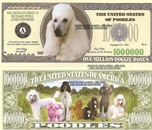 POODLE DOG PUPPY ONE MILLION DOLLAR BILLS x 4 GIFT NEW