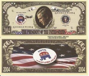 GEORGE W BUSH REPUBLICAN RE-ELECT 2004 DOLLAR BILLS x 4