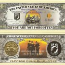VIETNAM COMMEMORATIVE POW MIA MILLION DOLLAR BILLS x 4