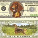 IRISH SETTER DOG ONE MILLION DOLLAR BILLS x 4 NEW GIFT